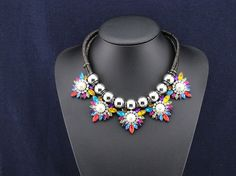 Colorful Bib Necklace Crystal Choker Statement Necklace by eBijoux, $21.99