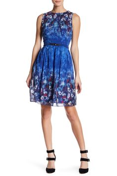Belted Floral Print Fit And Flare Dress by Little Mistress on @HauteLook