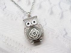 Silver Owl Necklace - Silver Celtic Knot - Silver Celtic Owl - ORIGINAL by BirdzNbeez via Etsy.