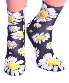 Loving this Black & Yellow Daisy Crew Socks - Women on #zulily! #zulilyfinds