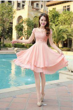 Elegant, Layered, Chiffon Dress, Lace Top, YRB, YRBfashion, korean dresses fashion, korean fashion clothes, korean lace dress, korean clothi...