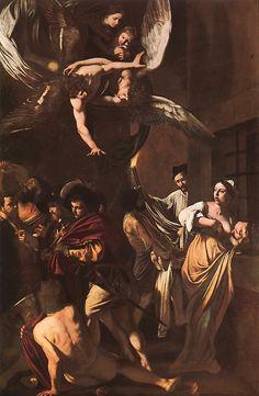 Караваджо. Седьмое деяние Мерси. The Seven Acts of Mercy. 1607. Oil on canvas, 390 x 260 cm. Church of Pio Monte della Misericordia, Naples.