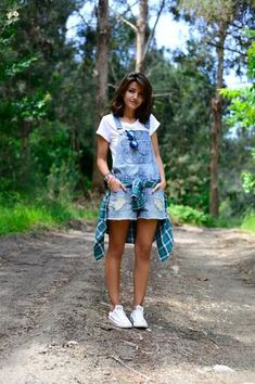 Whether you're heading to a summer camp reunion, or your friend's country house, don't forget sneakers, shorts, and long sleeves (ugh, mosquitoes). Overalls are a great way to be comfy and look cute.   Read more: http://www.stylecaster.com/what-to-wear-to-summer-events/#ixzz35CanLmRQ