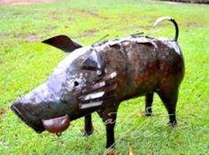 African Metal Sculpture Warthog Pig Garden Art from Earth Homewares