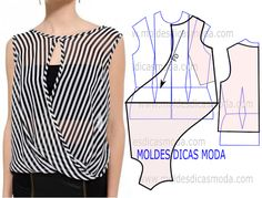 moldes de blusas cruzada na frente com manga de babado ile ilgili görsel sonucu Dress Sewing Patterns, Blouse Patterns, Clothing Patterns, Blouse Designs, Blouse Sewing Pattern, Fashion Sewing, Diy Fashion, Ideias Fashion, Costura Fashion