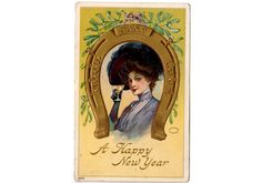Vintage 1910's New Year Post Card Beautiful Woman Drinking Champaign Gold Horseshoe Good Luck