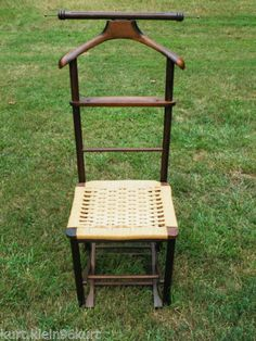 Folding Mid Century Danish Valet Butlers Chair W Natural Cord Italy Wagner    EBay