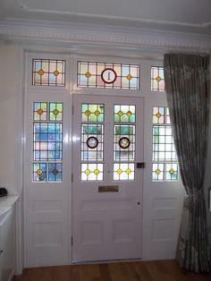 Victorian door with leaded glass