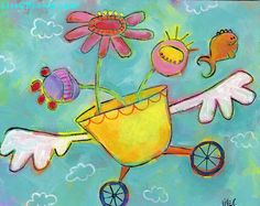 Flying Bouquet -- quirky fish and flowers in teal sky -- Original Painting on 8x10 canvas for girls or women on Etsy, $65.00