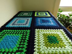 Blue & Green, Navy Blue Edged #AfghanBlanket. Available to buy from https://www.etsy.com/uk/shop/Phoenixsmiles. Lots of colorful creations in store, why not take a look?