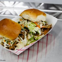 Aloha Sliders at Marination Station in Seattle, WA.   Also try their Kim Chee Fried Rice, Kalbi Tacos, Spicy Pork Tacos, and Miso Ginger Chicken Tacos  Look for their food truck, Marination Mobile.