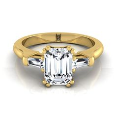 Diamond Engagement Double Prong Ring With Emerald Cut Center And Tapered Baguette Side Stones In 14k Yellow Gold (1/4 Ct.tw.)