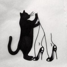 johnny gloom - Tatuagem, ilustração, inspiração, gatos, felinos.