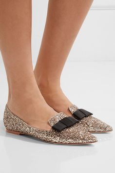 Jimmy Choo - Gala Glittered Leather Point-toe Flats - Gold - IT40.5