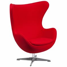 Flash Furniture Red Wool Fabric Egg Chair with Tilt-Lock Mechanism 889142011088 | eBay