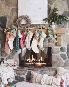 all the stockings are hung by the chimney with love... ✨because so many asked... one stocking for mom, one dad, one son, two daughters, one dog...and one for hope. ✨|| beautiful artwork by @mmsessionsart products linked through @liketoknow.it  http://liketk.it/2pO3K #liketkit #anthroholidays