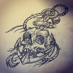 #anchorskull #anchortattoo #skulltattoo #illustration #sketch #customtattoo #neptunesmaid #neptunesmaidcustomtattoolübeck
