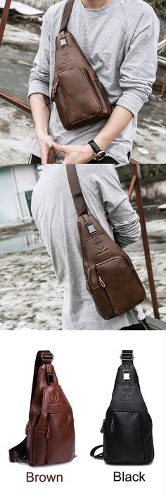 8f8eb08e688a US 37.00 BULLCAPTAIN Genuine Leather Business Casual Chest Bag Crossbody Bag  For Men Cheap Crossbody Bags