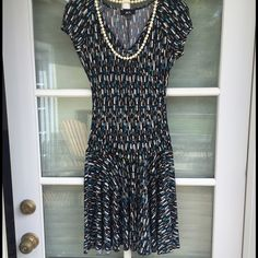 """Very flattering BCX dress for spring. Very pretty and flattering BCX dress for spring. Very good condition.  Under arm to under arm 14 1/2"""". Shoulder to hem 35"""".  Some stretch in fabric. BCX Dresses"""