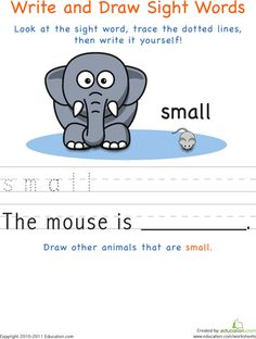 Worksheets: Write and Draw Sight Words: Small