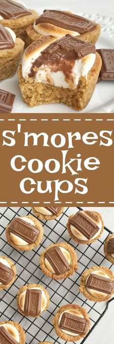 S'mores cookie cups are baked in a mini muffin pan. Graham cracker cookie base, with a toasted marshmallow, and a piece of gooey chocolate on top! Now you can enjoy campfire toasty s'more all year round for dessert.