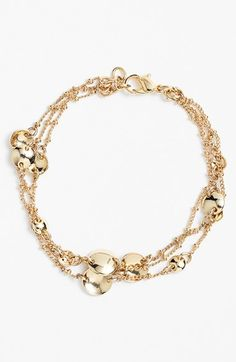 Free shipping and returns on Nordstrom Three-Row Station Bracelet at Nordstrom.com. Polished disc stations dot the slender chains of a triple-strand bracelet that gives you an easy, premade stacked look.