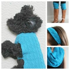 Dog Clothing Turn One Old Sweater Into Three New Accessories plus a dog sweater - All in just a couple hours. Dog Clothes Diy, Small Dog Clothes, Dog Clothes Patterns, Dog Clothing, Animal Clothes, Puppy Clothes, Old Sweater, Dog Sweaters, Chihuahua