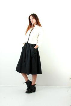 Vintage Black Cotton Flared Skirt / Skirt With Pockets /