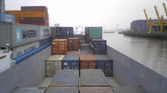 Time-Lapse of a Cargo Ship Transporting Containers in Rotterdam