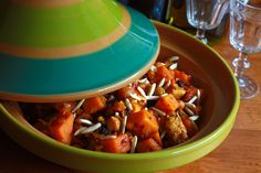 Moroccan Chicken, Butternut Squash, Apricot and Almond Tagine.  daringgourmet.com