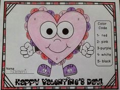 FREE Color by number for Valentine's Day! Stop by for some great February ideas to use in your K-2 classroom!
