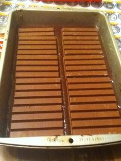 Place the 3 XL Kit Kat bars over the layer of brownie mix. kit kat brownies