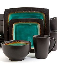 Gibson Ocean Paradise Jade Set, Service for 4 - Casual Dinnerware - Dining & Entertaining - Macy's