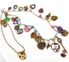 Vintage Romantic GLASS STUDIO WORKS 25 Hearts & Baubles Charm Necklace