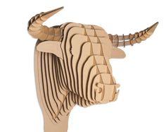 Cartone Safari Toro cartone Bull Head - piccolo - marrone