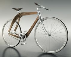 Wooden composite bike by AERO prototyped to explore structural properties of wood for use in architecture