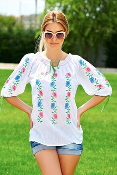 Delicate Flower White Traditional Blouse, floral prints, embroidery details, laced details, sleeves are fastened with a cord Product Label, Cotton Style, Floral Embroidery, Lace Detail, Cord, Floral Prints, Delicate, Fashion Outfits, Traditional