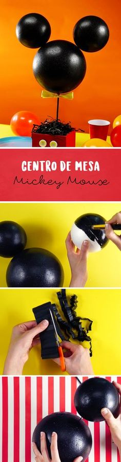 Mickey Mouse no puede faltar en tu fiesta. ¡Es muy sencillo y económico de hacer! #MickeyMouse #Disney #Mickey Mickey Mouse Treats, Mickey Mouse Birthday Theme, Fiesta Mickey Mouse, Mickey Mouse Baby Shower, Mickey Mouse Parties, Mickey Party, Baby 1st Birthday, Mickey Minnie Mouse, Circus Theme Cakes