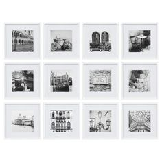 Gallery Wall Frames, Collage Picture Frames, Picture Frame Sets, Frames On Wall, Art Gallery, Gallery Walls, White Frames, Wall Collage, Hanging Frames