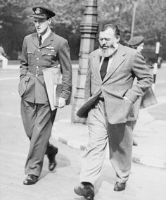 Roald Dahl and Ernest Hemingway, London, 1944. Dahl, though in the RAF, had already begun writing children's stories at this time.
