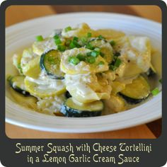 Summer Squash with Cheese Tortellini in a Lemon Garlic Cream Sauce—The perfect summer pasta dish and it takes 15 minutes from start to finish!