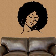 New to TheBlackerTheBerry on Etsy: African American wall decal African wall decor African vinyl sticker Afro hair lady wall sticker Sexy wall art silhouette; salon art