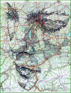 creative portrait map. map art.