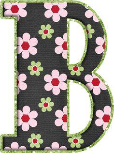 .Alfabeto de florecitas rosas ...De  Eduarda Cavalcanti ...B Alphabet Style, Flower Alphabet, Printable Alphabet Letters, Alphabet And Numbers, The Wedding Singer, Patch Aplique, Letter Set, Wooden Letters, Lettering