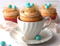 Change to clear cups.   Nests of spun sugar atop Caramel Buttercream & Vanilla Bean Cakes.
