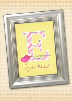 "Personalized Monogramed Wall Art for Nursery or Bedroom - 8x10 Monogramed Wall Art / Name Art / Birds (Digital File) - Letter ""E"". $14.99, via Etsy."