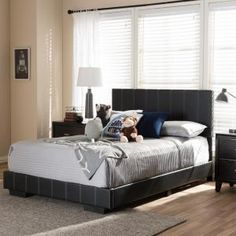 Baxton Studio Bianca Transitional White Faux Leather Upholstered Full Size Bed-28862-4413-HD - The Home Depot Full Size Platform Bed, Modern Platform Bed, Leather Platform Bed, Contemporary Bedroom Decor, Stylish Beds, Upholstered Platform Bed, Baxton Studio, Full Bed, Black Furniture