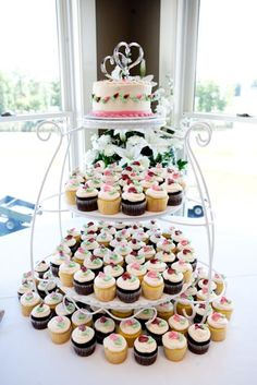Cupcake tower wedding cake stands are so fun!