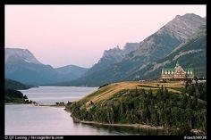 Waterton Lakes and Prince of Wales hotel, dawn. Waterton Lakes National Park, Alberta, Canada  (Check!)