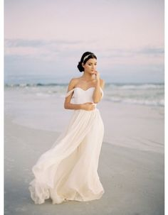 Off-the-shoulder Beach A-line Long Chiffon Wedding Dress